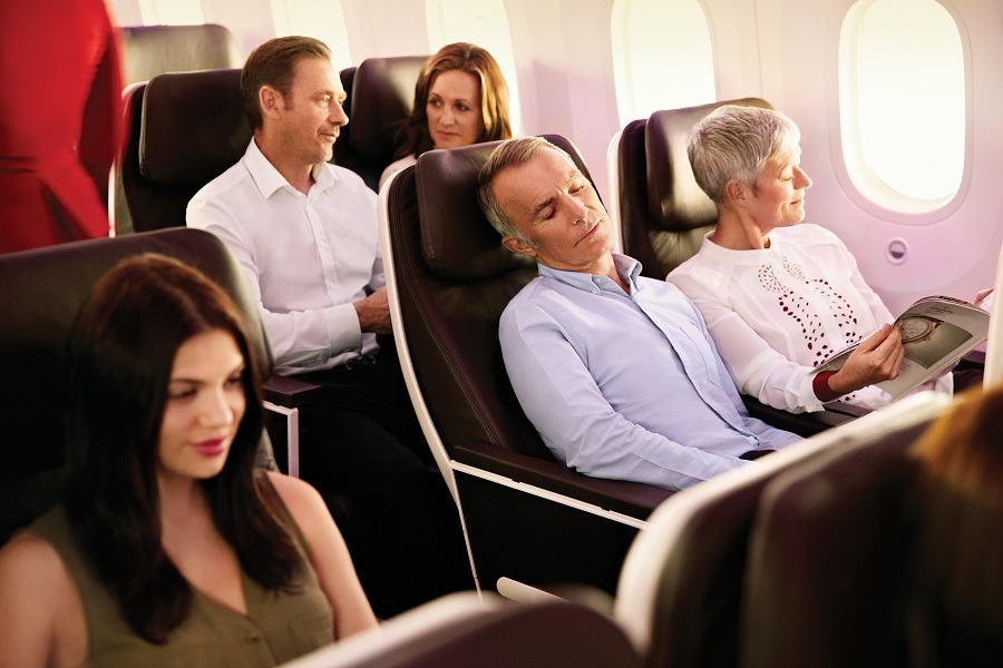 Couple in Virgin Atlantic Premium Economy cabin
