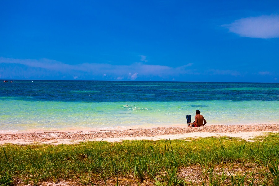 Boy on the beach at Cayo Jutias
