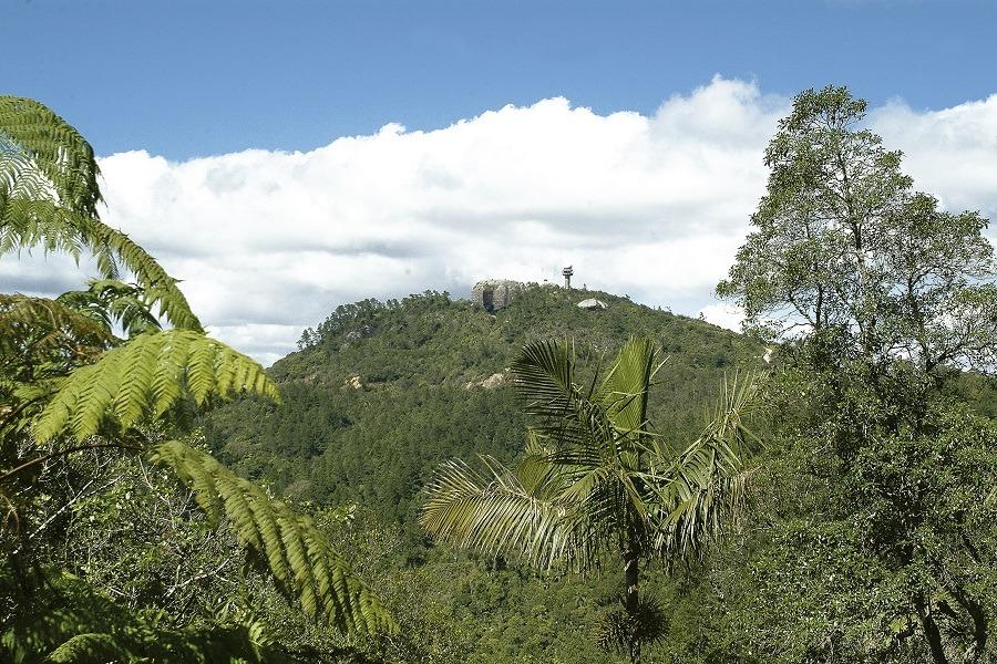 Distant view of La Gran Piedra in Santiago