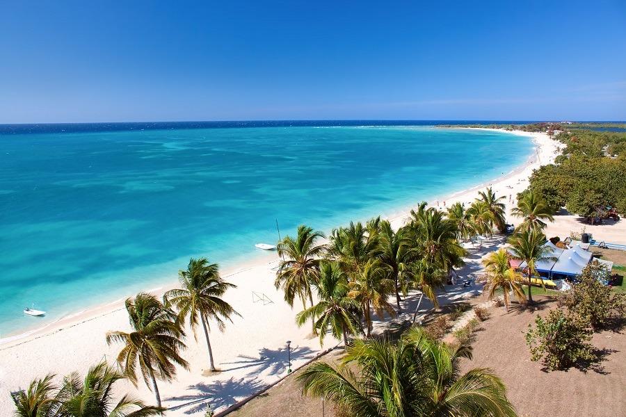 Aerial view of Playa Ancon beach in Trinidad, Cuba