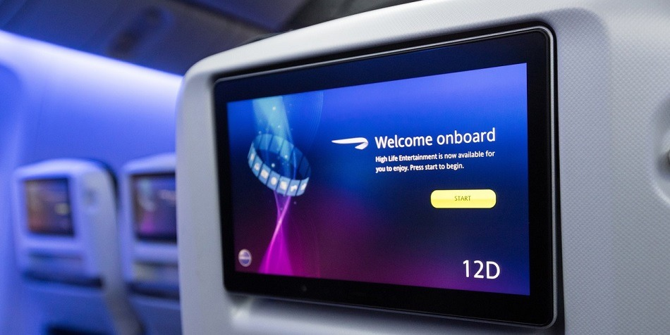 Seatback tv on British Airways