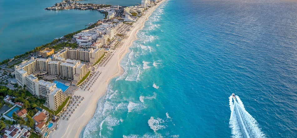 Aerial view of Cancun beach