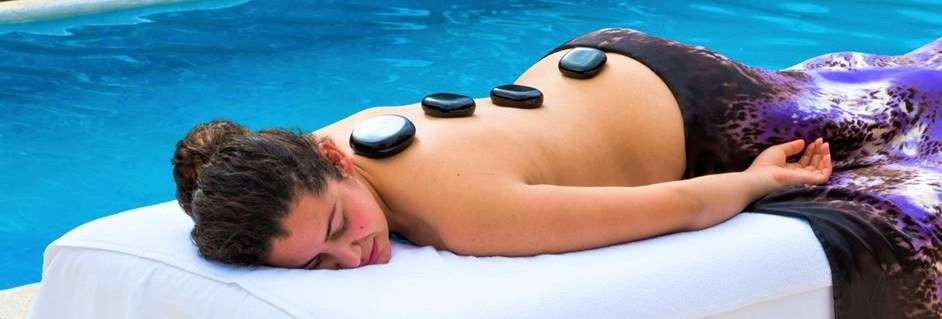 Hot stone treatment by the pool