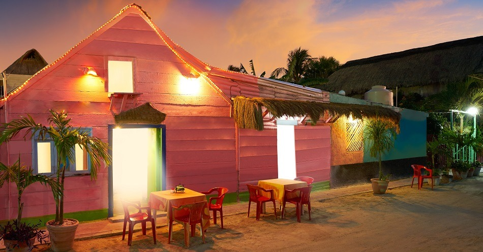 Early evening outside restaurant in Holbox