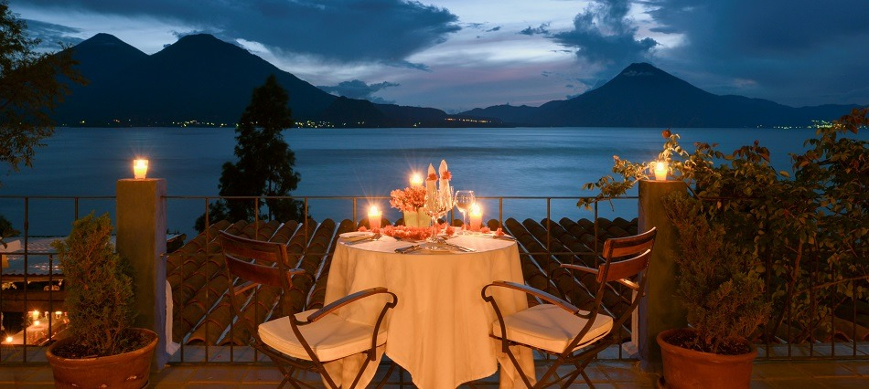 Romantic dinner overlooking Lake Atitlan