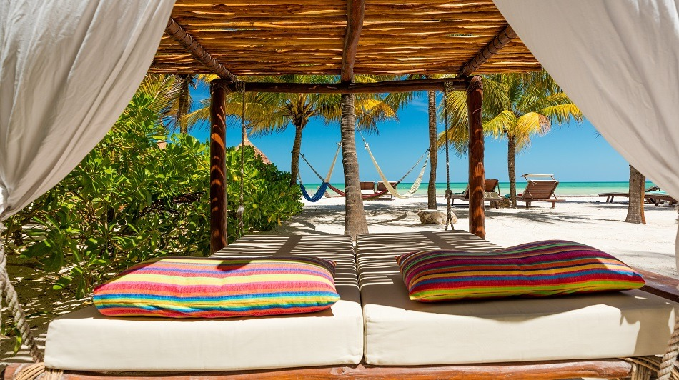 Beach beds in Holbox