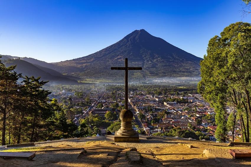 View over Antigua to Agua volcano