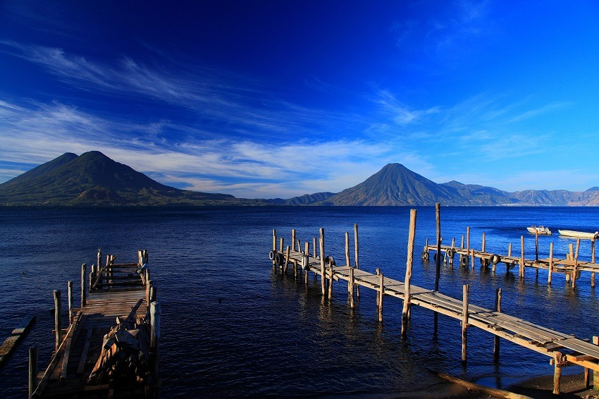 View of volcanoes over Lake Atitlan