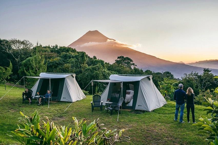 Campsite overlooking a volcano in Guatemala