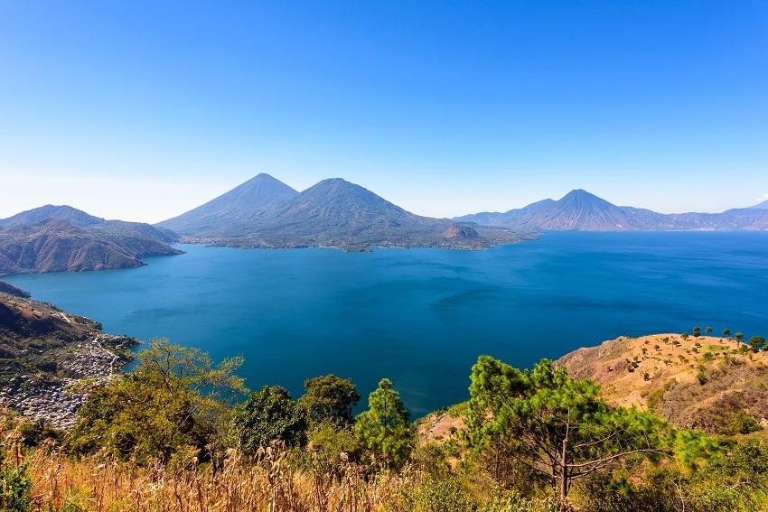 Three volcanoes overlooking Lake Atitlan