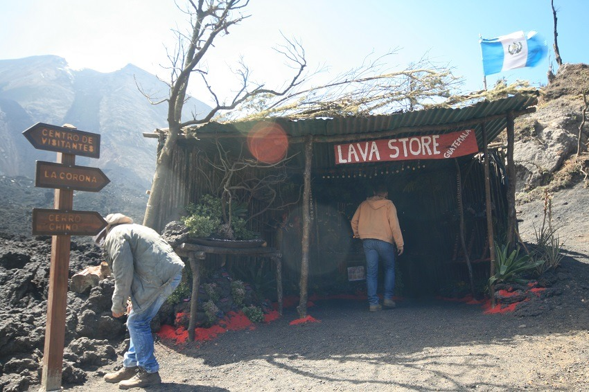 Lava shop on Pacaya volcano