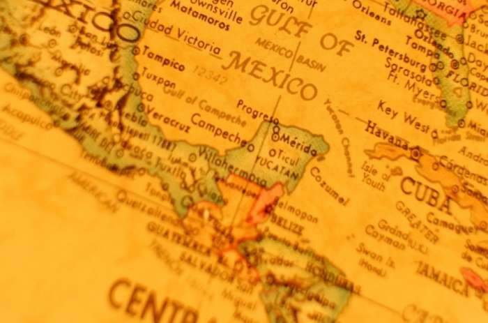 Vintage map of the Yucatan Peninsula