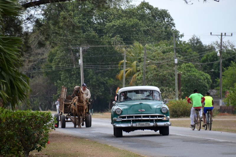 Classic car on the road in Cuba