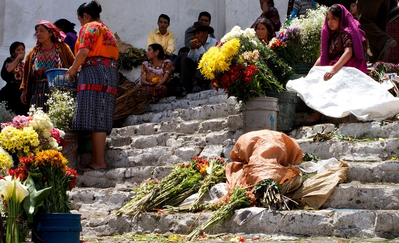 Flower sellers on the church steps in Chichicastenango