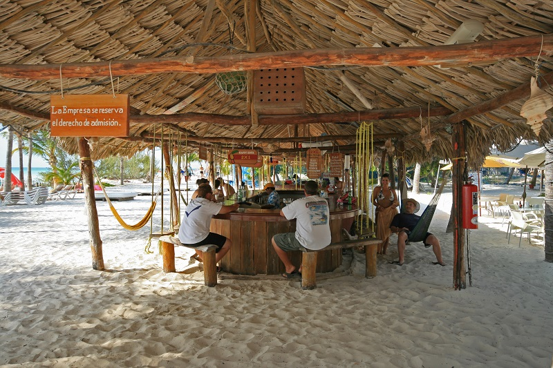 Palapa Bar on isla Mujeres in Mexico