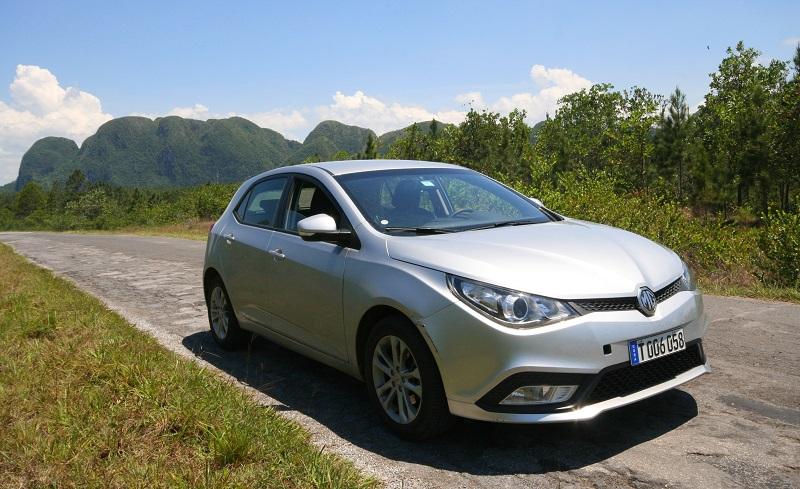 Hire car in the Vinales Valley, Cuba.
