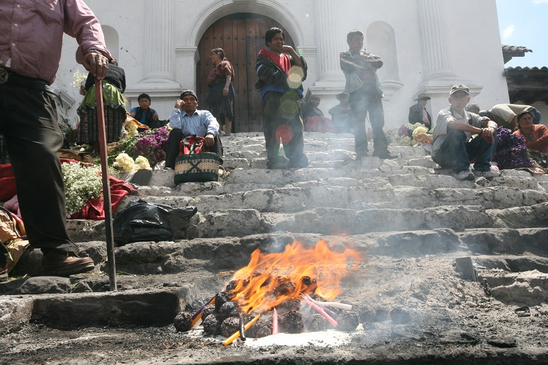Religious offerings on the steps of Santo Tomas church in Chichicastenango