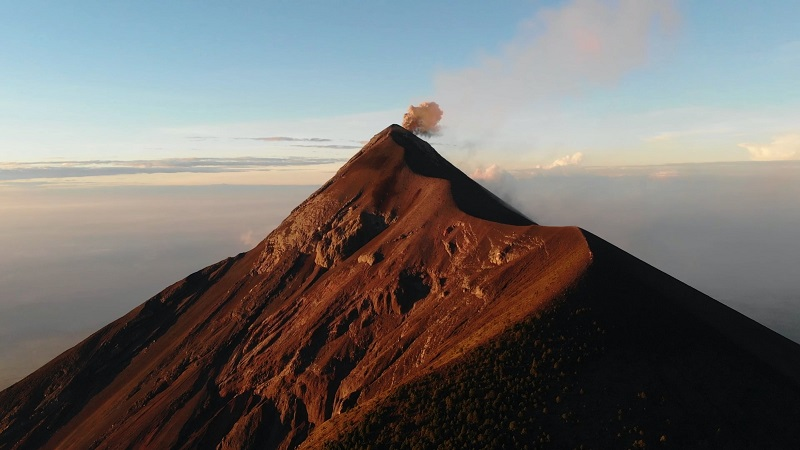 View of Fuego volcano from Acatenango
