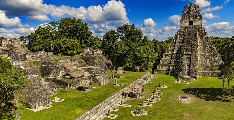 The main plaza at Tikal in Guatemala, part of the Ruta Maya