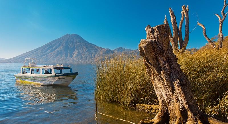 A boat on Lake Atitlan in Guatemala
