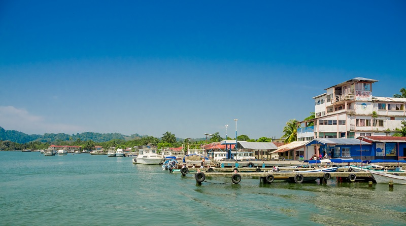 Boats at the waterfront in Livingston, Guatemala