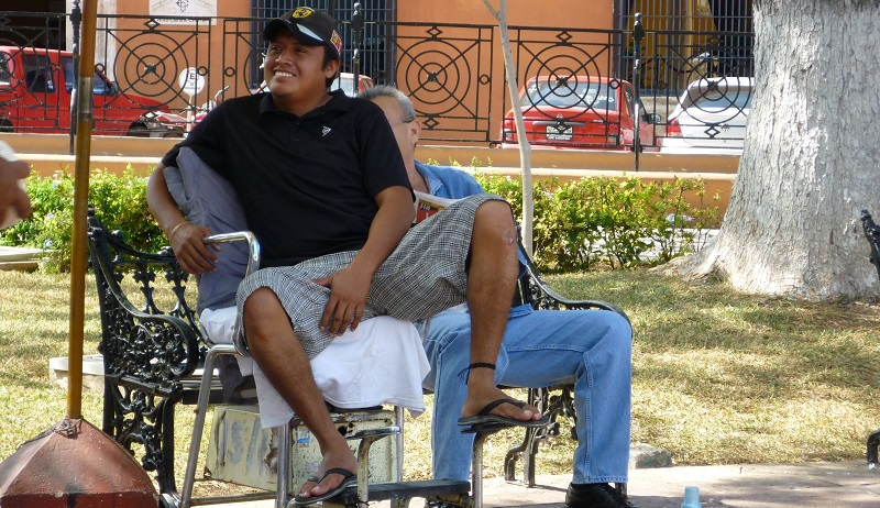 Shoeshine in the Plaza in Campeche