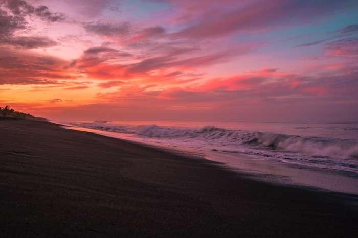 Sunset at Monterrico beach in Guatemala