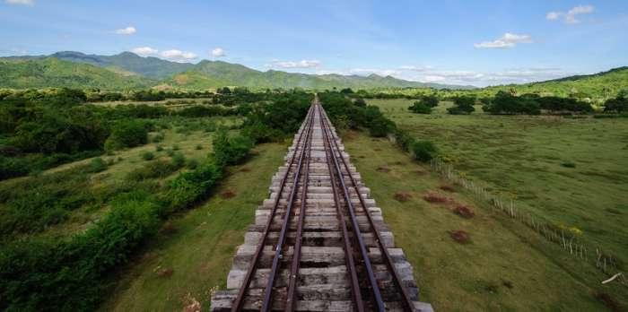 Railway track crossing the Cuba countryside