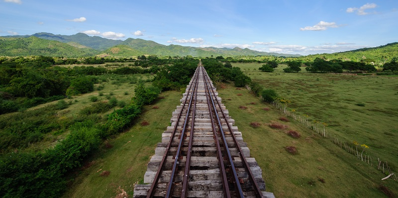 Railway track crossing the Cuba countryside