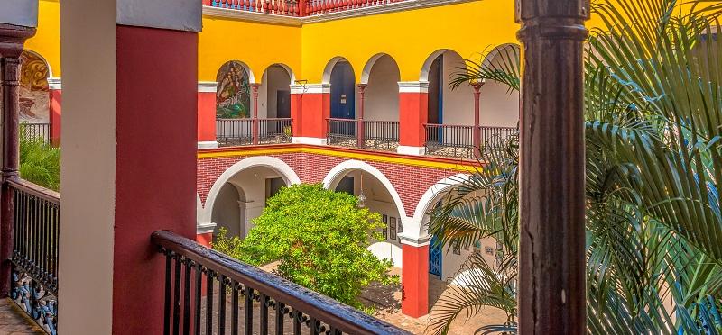 Colourful, colonial era building in Holguin, Cuba