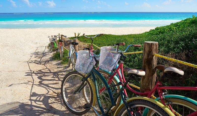 Bikes on beach in Quintana Roo, Mexico