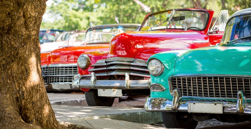Colourful, vintage cars parked in Old Havana