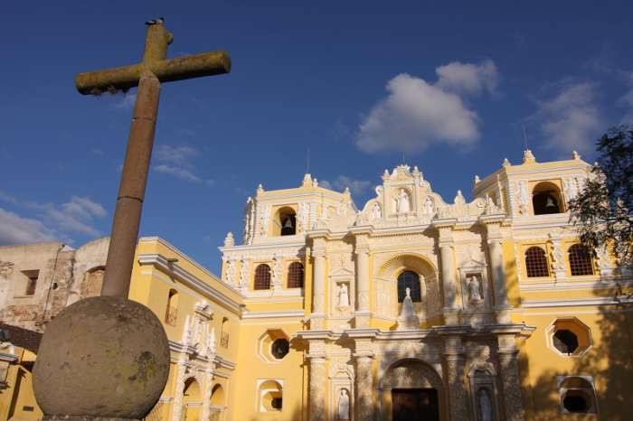 Exterior of Iglesia De La Merced in Antigua, Guatemala