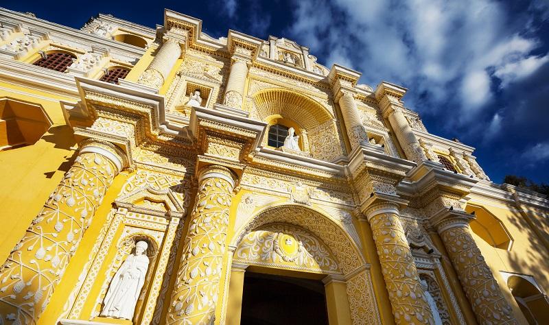 Ornate exterior of the Merced church in Antigua
