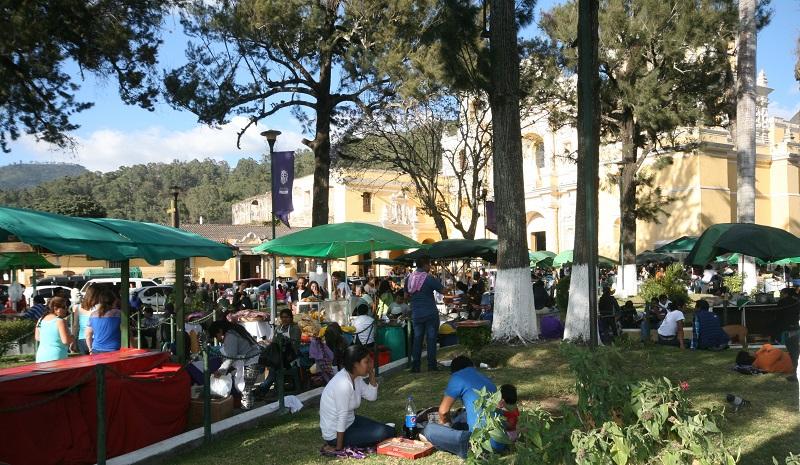Weekend food market in Plaza Merced, Antigua.