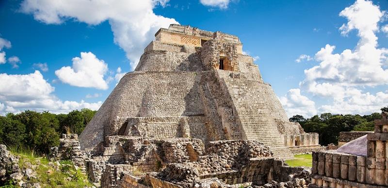Ancient pyramid at Uxmal, Mexico