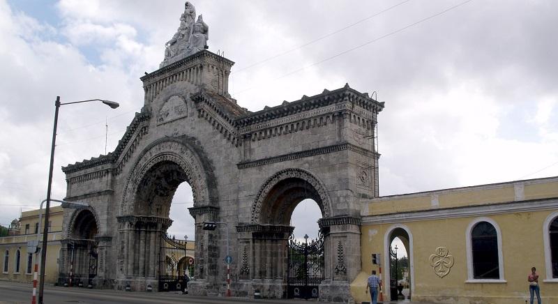 Entrance tower at Havana's main cemetery
