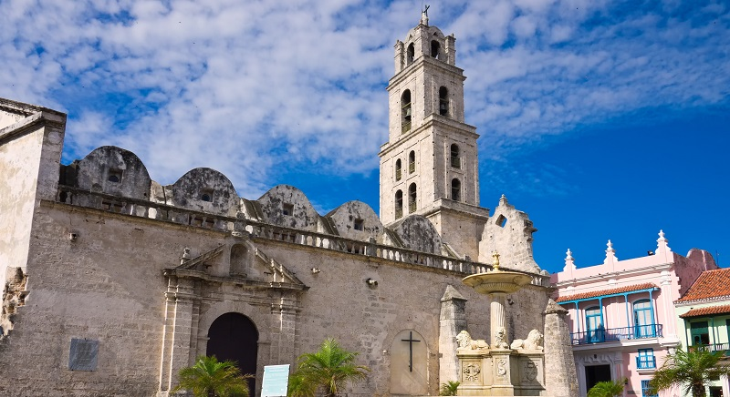 Colonial era church in Plaza San Francisco in Havana